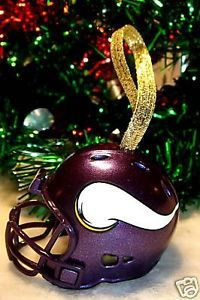 CHRISTMAS BELL FOOTBALL HELMET ORNAMENT MINNESOTA VIKINGS