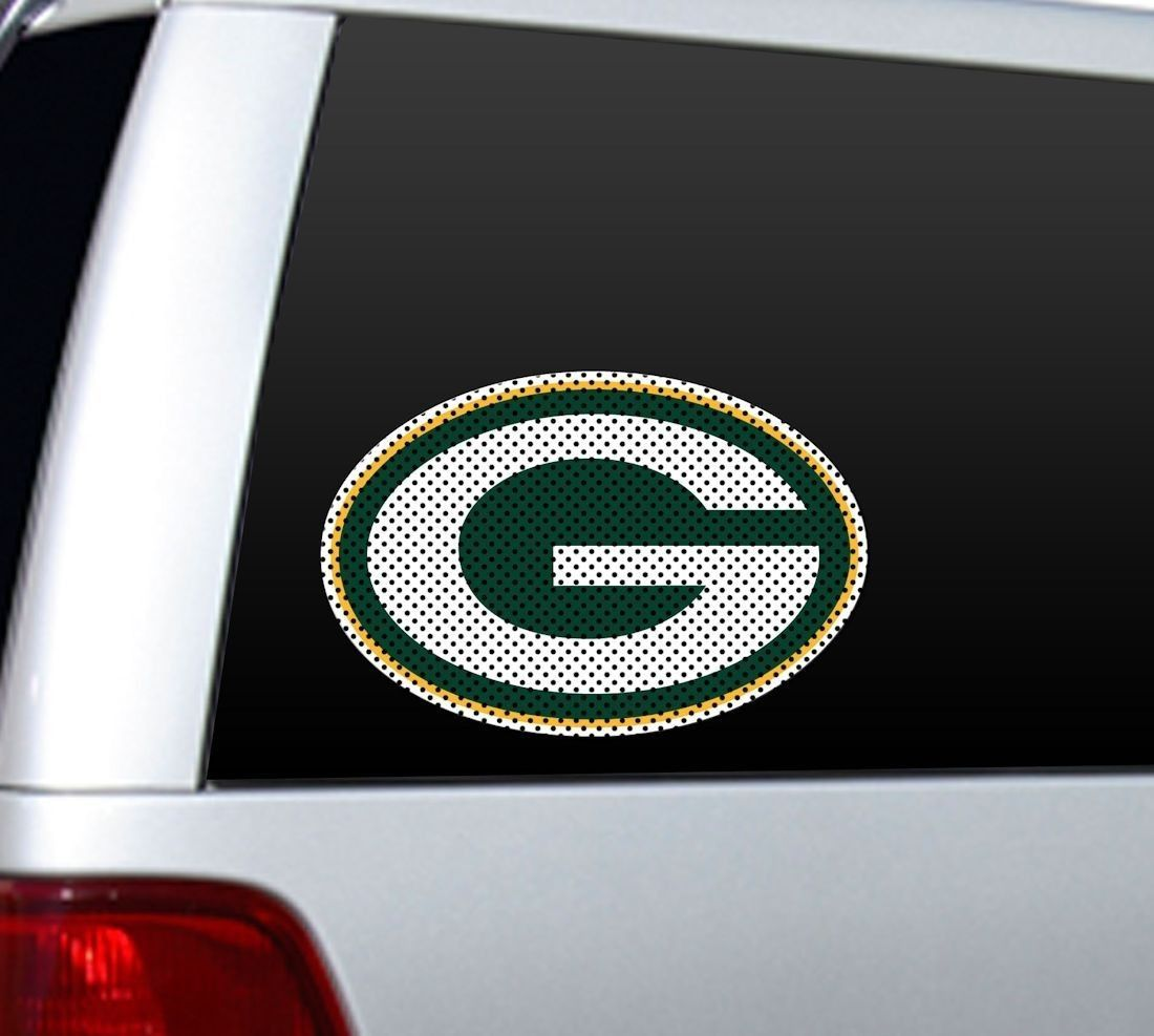 """*BIG* 12"""" GREEN BAY PACKERS CAR HOME PERFORATED WINDOW FILM DECAL NFL FOOTBALL"""