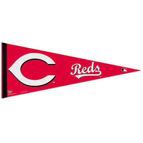 "BIG CINCINNATI REDS TEAM FELT PENNANT 12""X30"" MLB BASEBALL SHIPS FLAT USA"