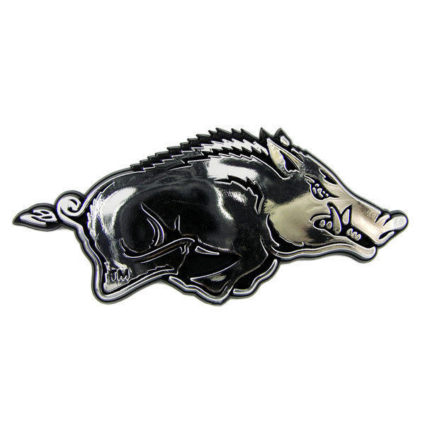 ARKANSAS RAZORBACKS CAR AUTO 3-D CHROME SILVER TEAM LOGO EMBLEM