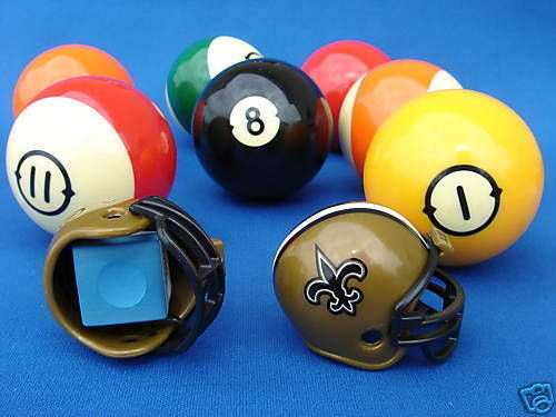 2 NEW ORLEANS SAINTS POOL BILLIARD CUE with MASTER CHALK NFL FOOTBALL HELMETS