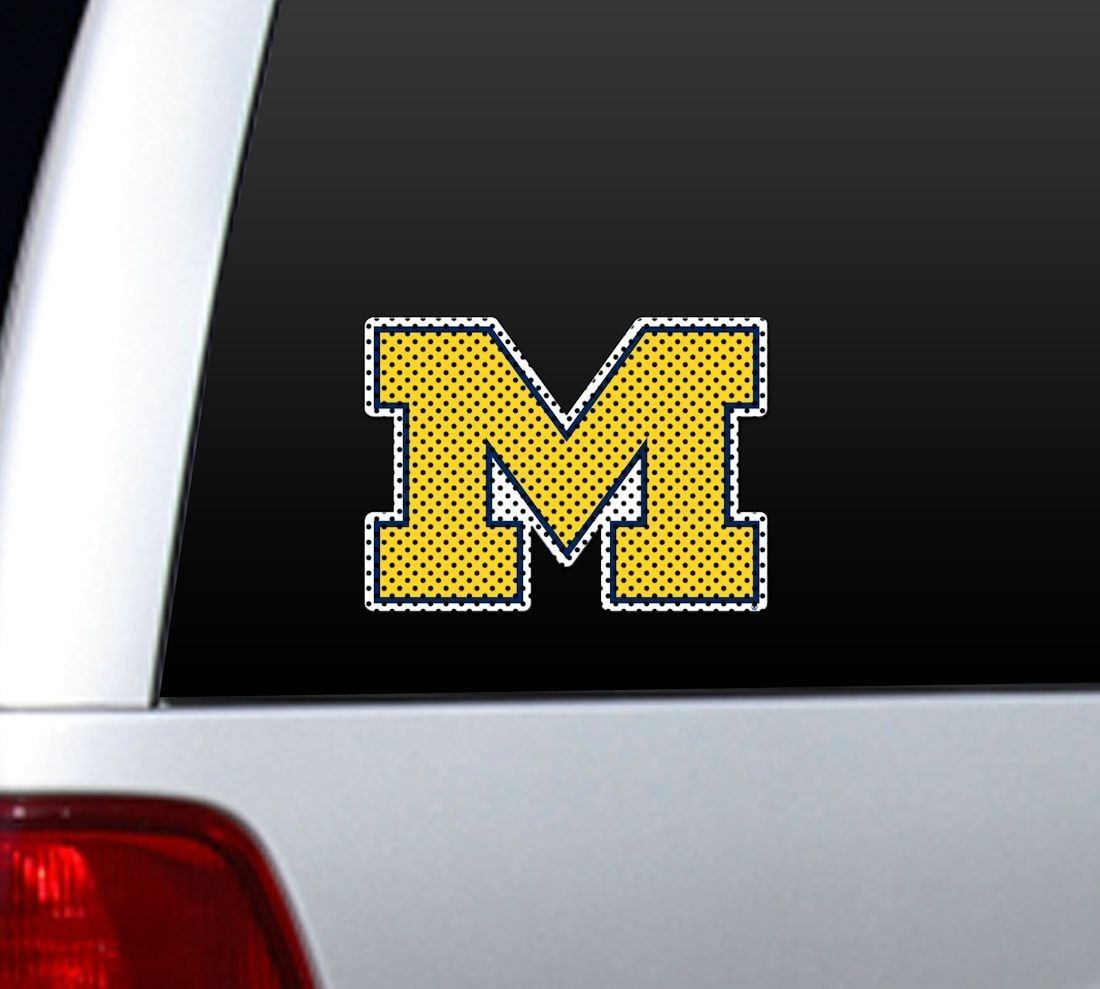 "*BIG* 12"" MICHIGAN WOLVERINES CAR HOME PERFORATED WINDOW FILM DECAL"