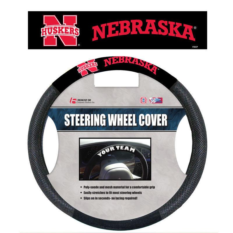 NEBRASKA HUSKERS MESH SUEDE CAR STEERING WHEEL COVER