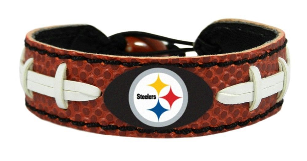 PITTSBURGH STEELERS CLASSIC LEATHER FOOTBALL LACES BRACELET NFL FOOTBALL