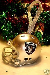 CHRISTMAS BELL NFL FOOTBALL HELMET ORNAMENT OAKLAND RAIDERS