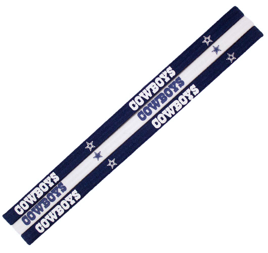 DALLAS COWBOYS Pack of 3 ELASTIC HAIR HEADBANDS TEAM LOGO NFL FOOTBALL