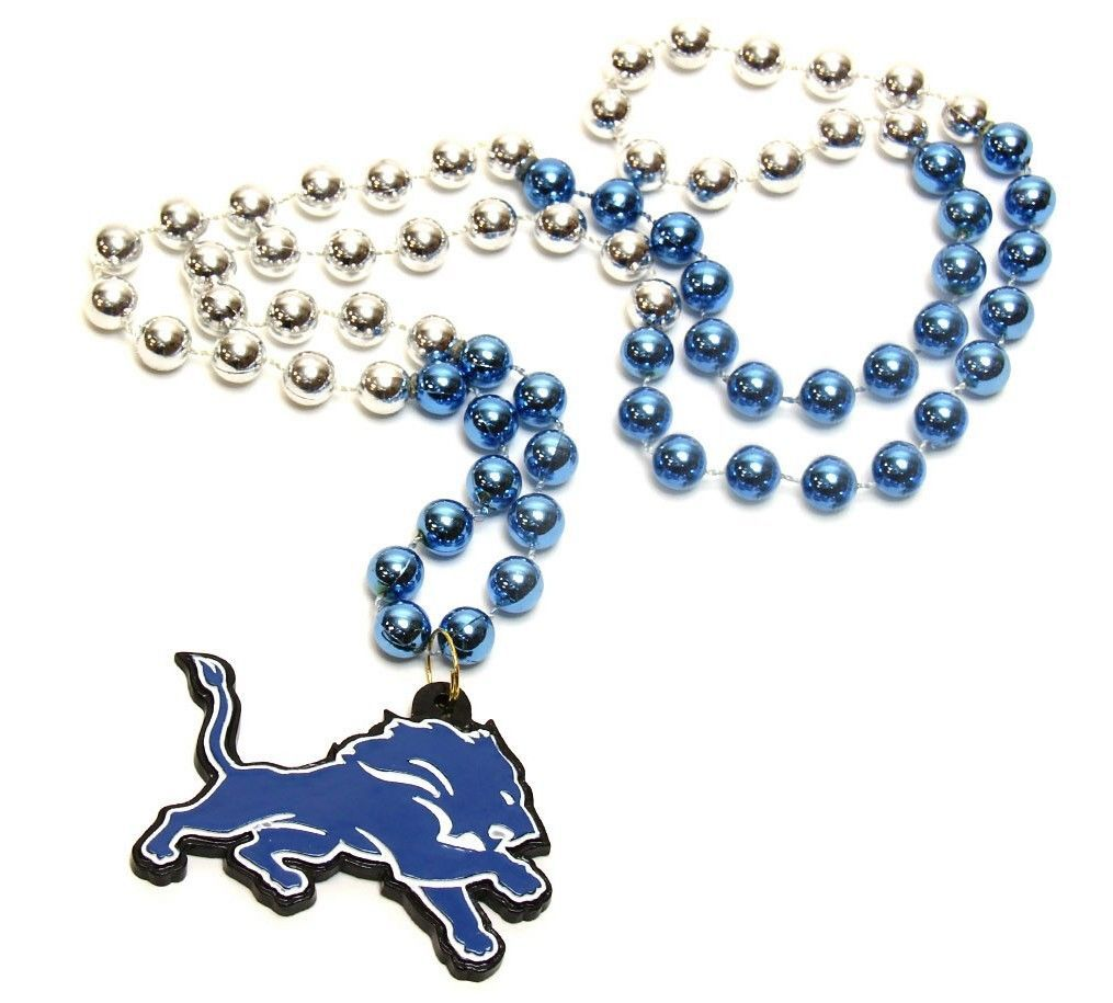 DETROIT LIONS MARDI GRAS BEADS with MEDALLION NECKLACE NFL FOOTBALL