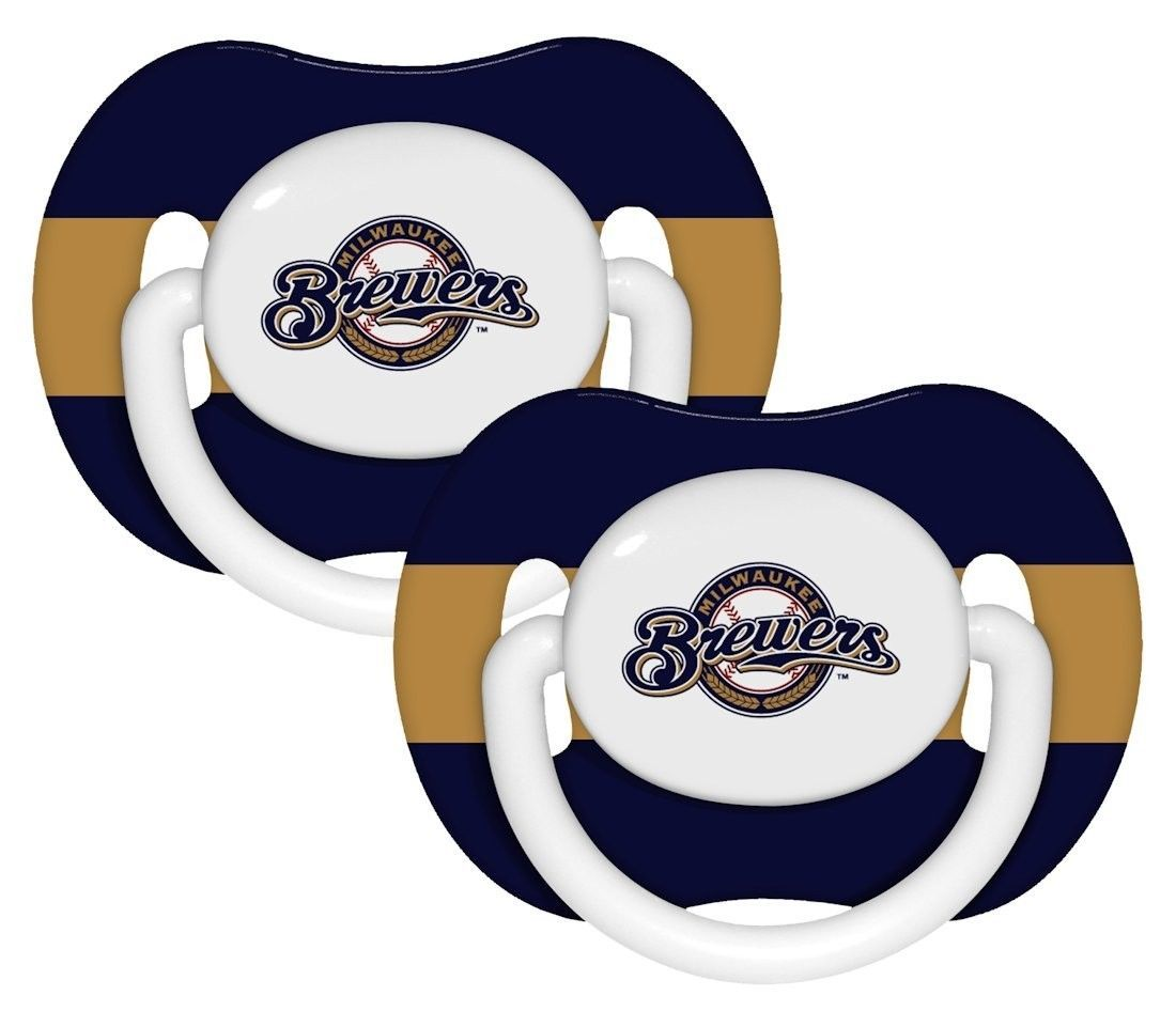 MILWAUKEE BREWERS 2-PACK BABY INFANT PACIFIERS SET MLB BASEBALL