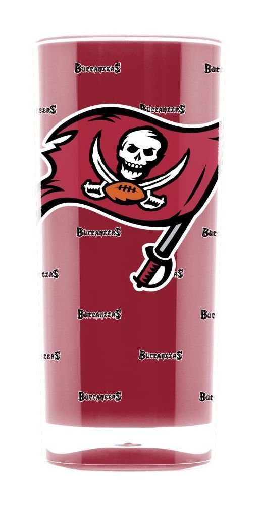 TAMPA BAY BUCCANEERS CRYSTAL CLEAR SQUARE INSULATED TUMBLER 16 OZ.  NFL FOOTBALL