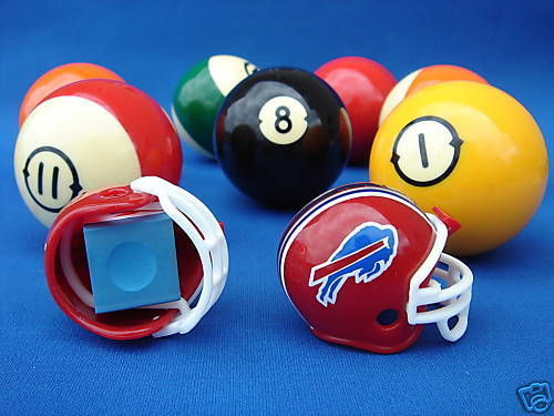 2 BUFFALO BILLS POOL BILLIARD CUE with MASTER CHALK NFL FOOTBALL HELMETS