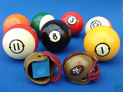 2 SAN FRANCISCO 49ERS POOL BILLIARD CUE with MASTER CHALK NFL FOOTBALL HELMETS