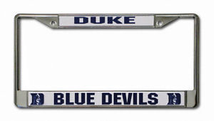 DUKE BLUE DEVILS CAR AUTO CHROME METAL LICENSE PLATE FRAME NCAA