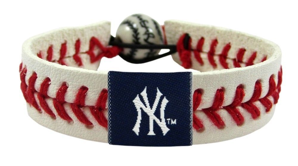 NEW YORK YANKEES MLB BASEBALL CLASSIC RED SEAMS LEATHER LACES BRACELET
