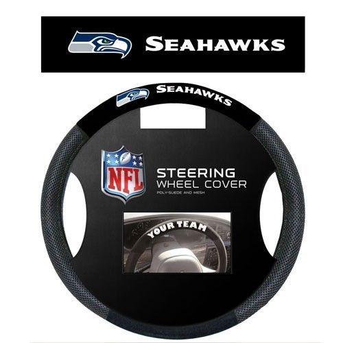 SEATTLE SEAHAWKS SUEDE MESH CAR STEERING WHEEL COVER NFL FOOTBALL