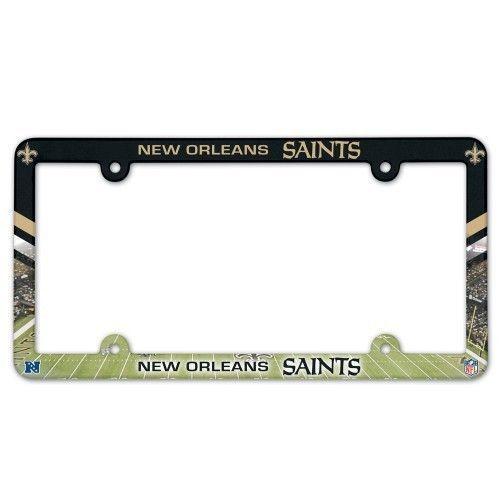 NEW ORLEANS SAINTS COLOR CAR AUTO PLASTIC LICENSE PLATE TAG FRAME NFL FOOTBALL