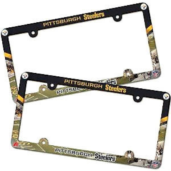 2 PITTSBURGH STEELERS COLOR CAR PLASTIC LICENSE PLATE TAG FRAME NFL FOOTBALL