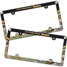 2 PITTSBURGH STEELERS COLOR CAR PLASTIC LICENSE PLATE TAG FRAME NFL FOOT... - $15.80
