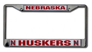 NEBRASKA HUSKERS CAR AUTO CHROME METAL LICENSE PLATE TAG FRAME NCAA
