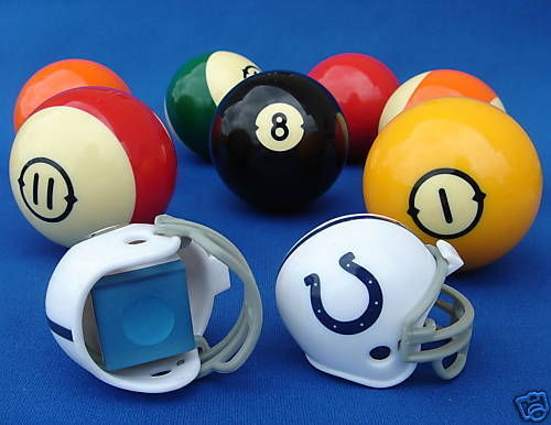 2 INDIANAPOLIS COLTS POOL BILLIARD CUE with MASTER CHALK NFL FOOTBALL HELMETS