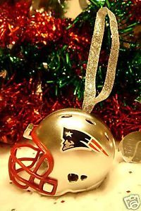 CHRISTMAS BELL FOOTBALL ORNAMENT NEW ENGLAND PATRIOTS