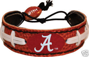 CLASSIC FOOTBALL LEATHER BRACELET ALABAMA CRIMSON TIDE