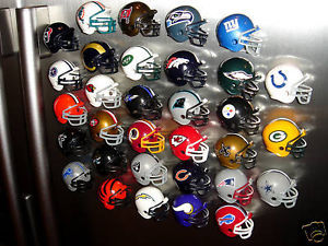 32 NFL TEAM FOOTBALL HELMET FRIDGE FANTASY FOOTBALL LEAGUE DRAFT MAGNETS SET