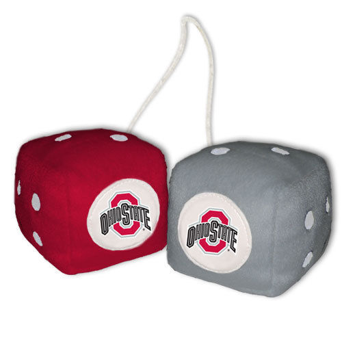 OHIO STATE BUCKEYES PLUSH FUZZY DICE CAR MIRROR DANGLER NCAA