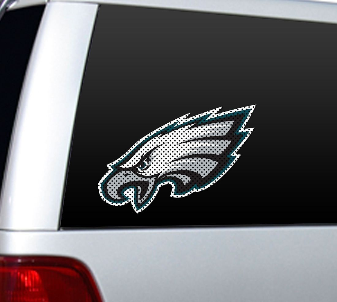 "BIG 12"" PHILADELPHIA EAGLES CAR HOME PERFORATED WINDOW FILM DECAL NFL FOOTBALL"