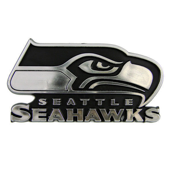 SEATTLE SEAHAWKS CAR AUTO 3-D CHROME SILVER TEAM LOGO EMBLEM NFL FOOTBALL