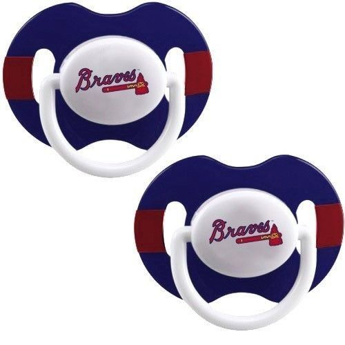 ATLANTA BRAVES 2-PACK BABY INFANT PACIFIERS MLB BASEBALL