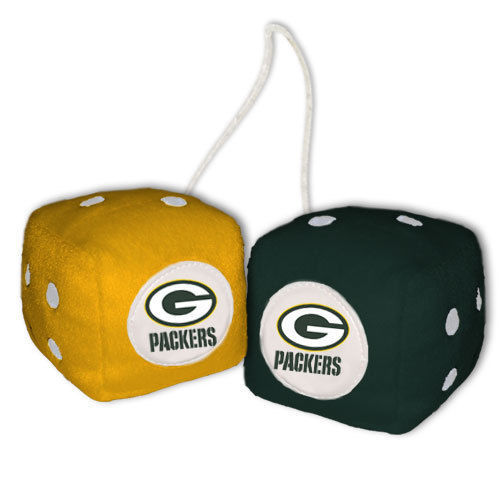 GREEN BAY PACKERS PLUSH FUZZY DICE CAR MIRROR DANGLER NFL FOOTBALL