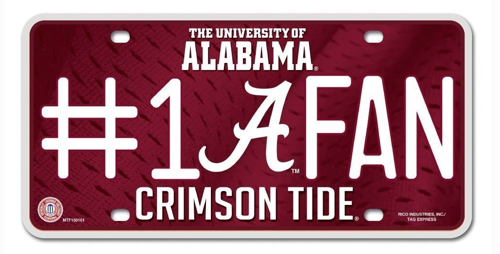 ALABAMA CRIMSON TIDE #1 FAN CAR / AUTO METAL LICENSE PLATE TAG