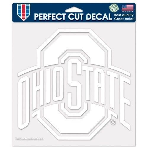 "OHIO STATE BUCKEYES 8"" X 8"" CLEAR FILM DIE CUT DECAL WHITE LOGO NCAA #1"
