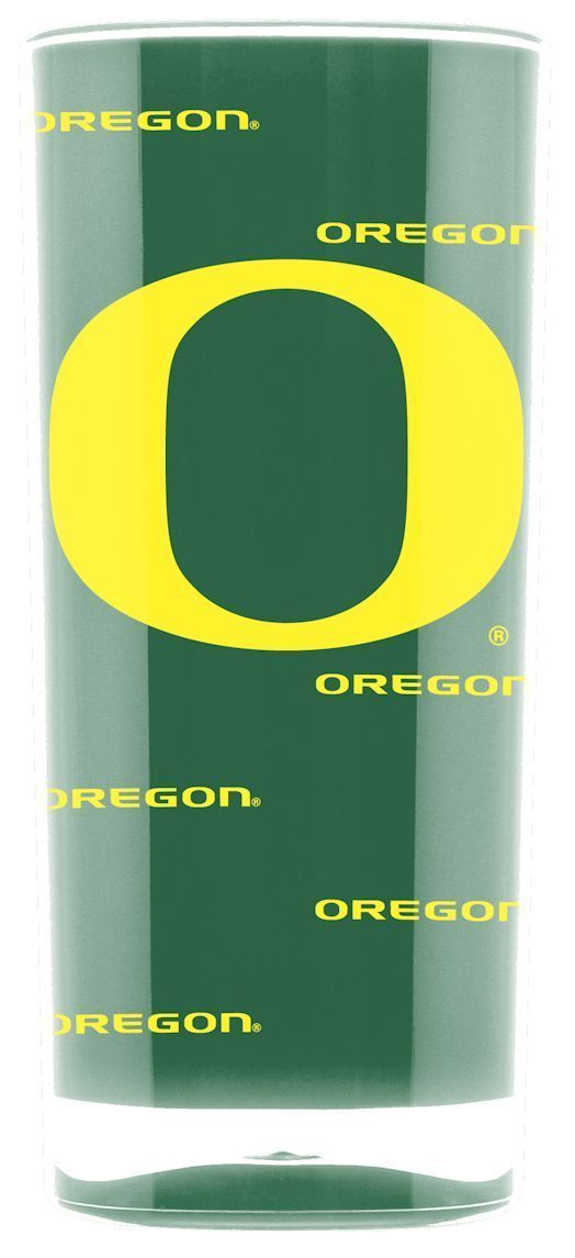 OREGON DUCKS CRYSTAL CLEAR SQUARE INSULATED TUMBLER 16 OZ.  NCAA