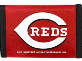 CINCINNATI REDS TEAM LOGO NYLON TRIFOLD WALLET MLB BASEBALL - $8.39