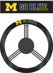 MICHIGAN WOLVERINES MESH SUEDE CAR STEERING WHEEL COVER