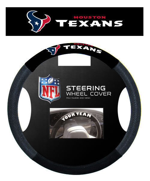 HOUSTON TEXANS POLY SUEDE MESH CAR STEERING WHEEL COVER NFL FOOTBALL