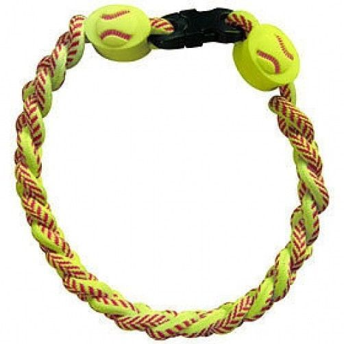 SOFTBALL TITANIUM IONIC BRAIDED WRISTBAND BRACELET