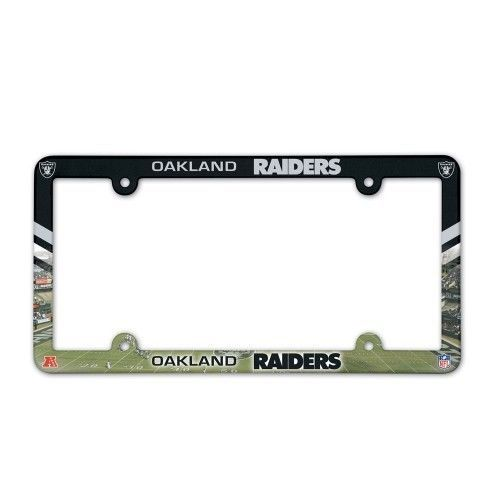 OAKLAND RAIDERS COLOR CAR AUTO PLASTIC LICENSE PLATE TAG FRAME NFL FOOTBALL