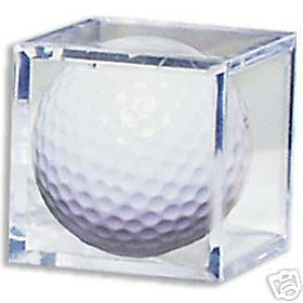 (1) GOLF BALL SQUARE CUBE HOLDER CRYSTAL CLEAR DISPLAY CASE