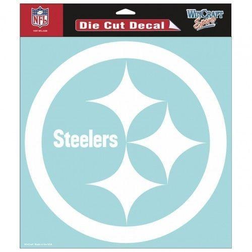 "PITTSBURGH STEELERS 8"" X 8"" CLEAR FILM DIE CUT DECAL WHITE LOGO NFL FOOTBALL #1"