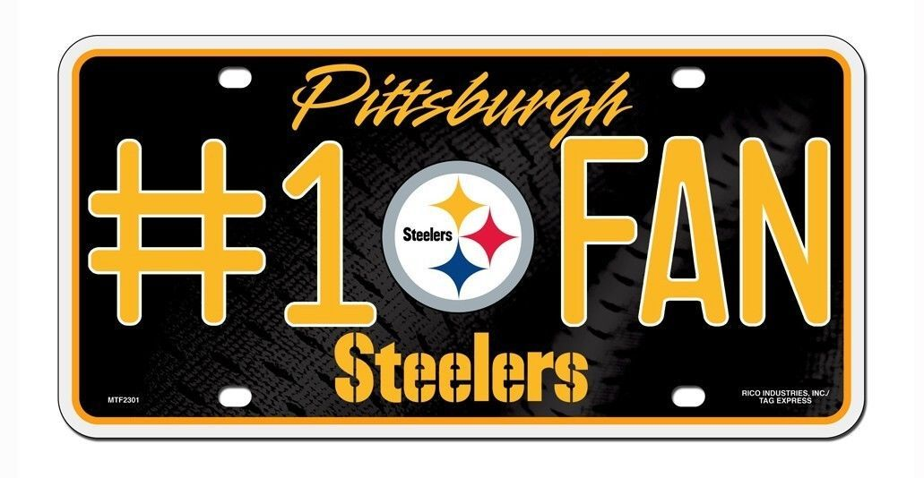 PITTSBURGH STEELERS #1 FAN CAR AUTO METAL LICENSE PLATE TAG NFL FOOTBALL