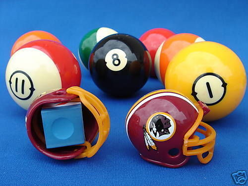 2 WASHINGTON REDSKINS POOL BILLIARD CUE with MASTER CHALK NFL FOOTBALL HELMETS