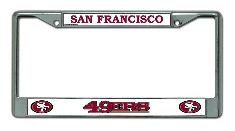 SAN FRANCISCO 49ERS CAR AUTO CHROME METAL LICENSE PLATE TAG FRAME NFL FOOTBALL