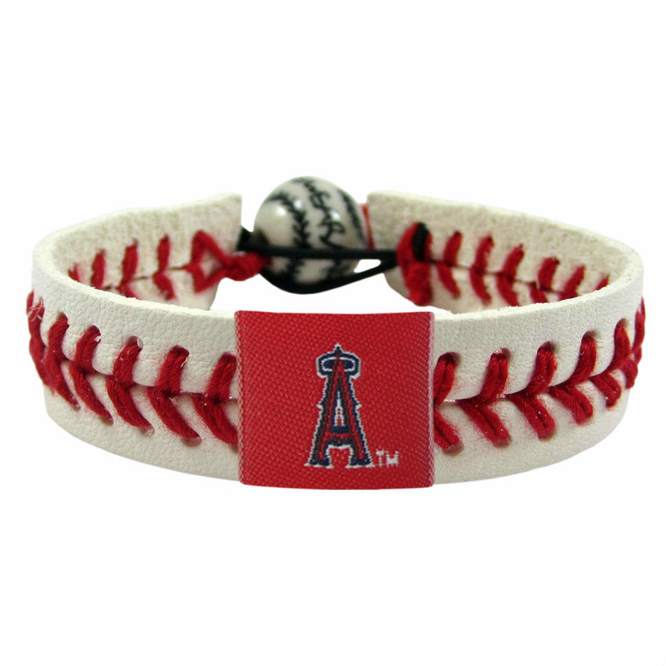 LOS ANGELES ANGELS of ANAHEIM CLASSIC LEATHER LACES BRACELET MLB BASEBALL