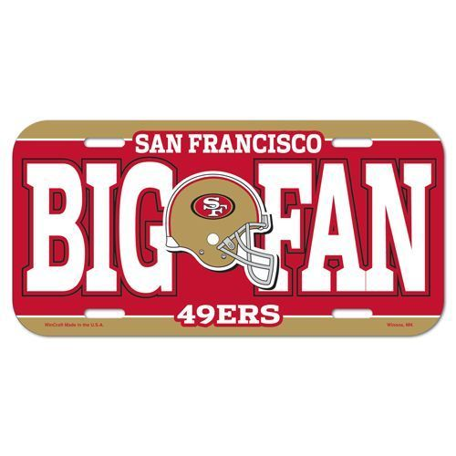 SAN FRANCISCO 49ERS *BIG FAN* CAR AUTO LICENSE PLATE TAG NFL FOOTBALL