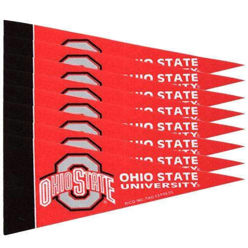 OHIO STATE BUCKEYES 8 PIECE MINI PENNANTS SET PACK of FELT TEAM LOGO & COLORS
