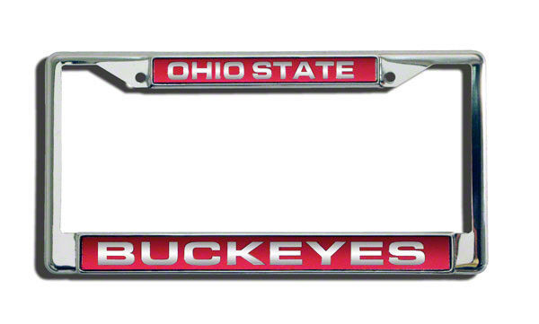 OHIO STATE BUCKEYES CAR AUTO LASER MIRROR CHROME LICENSE PLATE TAG FRAME
