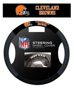 CLEVELAND BROWNS SUEDE MESH CAR STEERING WHEEL COVER