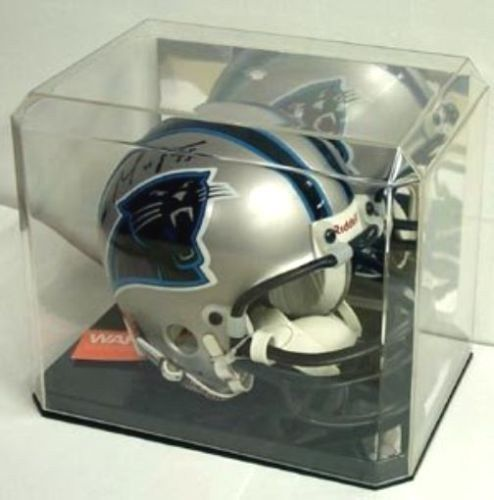 FREE SHIP MINI FOOTBALL HELMET CRYSTAL CLEAR MIRROR BACK DISPLAY CASE PROTECH